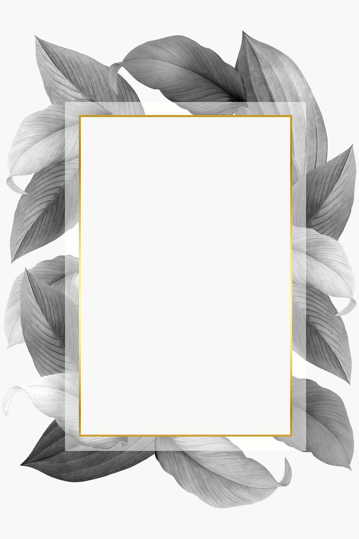 Grey Leaves With Golden Rectangle Frame Design Element Premium Image By Rawpixel Com Frame Design Photo Collage Template Floral Poster