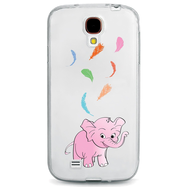 Pink Elephant Rainbow Feathers