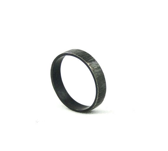 Black Sterling Silver Ring Band for Men or by GioielliJewelry