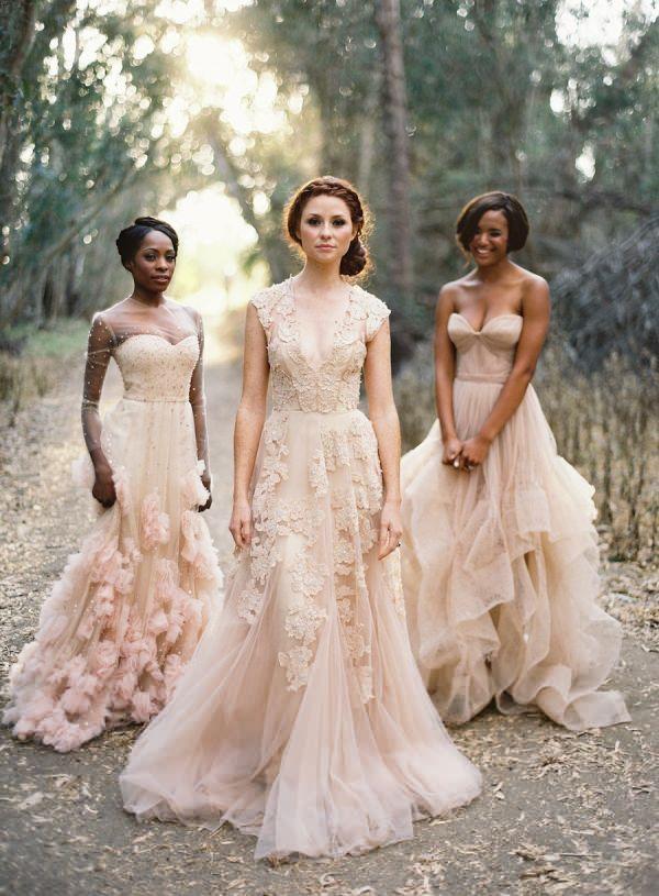Lace blush gown 15 gorgeous nonwhite wedding gowns for the bold lace blush gown 15 gorgeous nonwhite wedding gowns for the bold and beautiful buzzinnin junglespirit Gallery