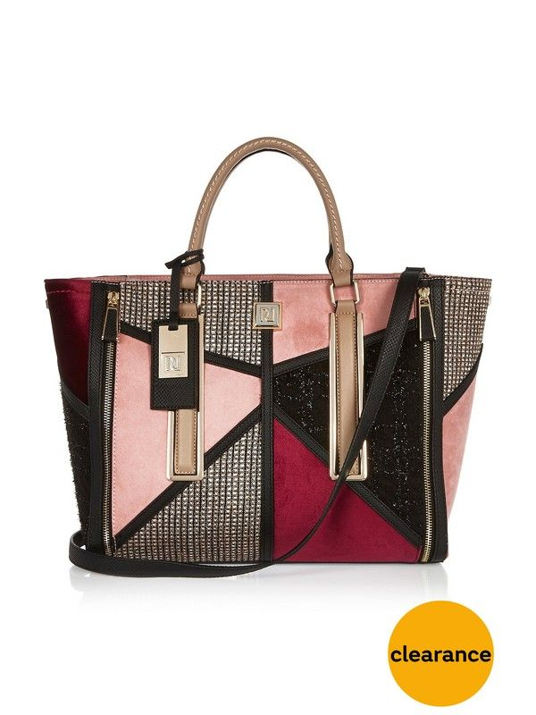 River Island Boucle Patchwork Tote Bag S Features A Fusion Of Patchworked