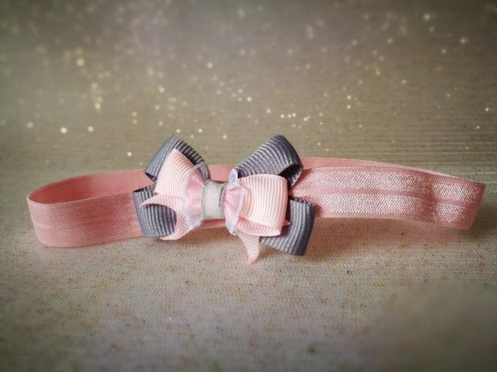 0336af540b Subtelna opaska dla Małej Królewny róż szary - MadebyKaza - Opaski dla  niemowląt