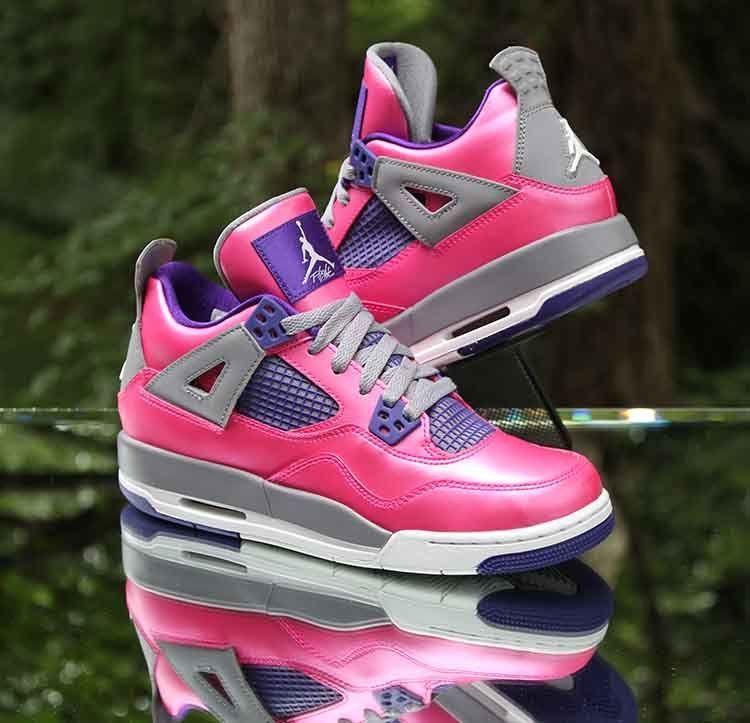 1786b6de032440 Air Jordan 4 IV Retro GS Pink Grey Purple 487724-607 Size 6Y WMNS 7.5   Jordan  Athletic