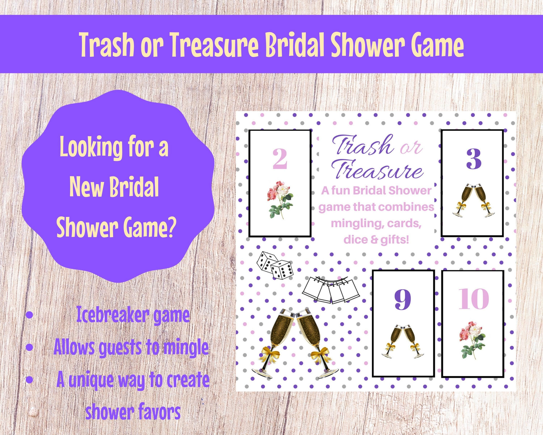 Bridal wedding shower trash or treasure printable dice