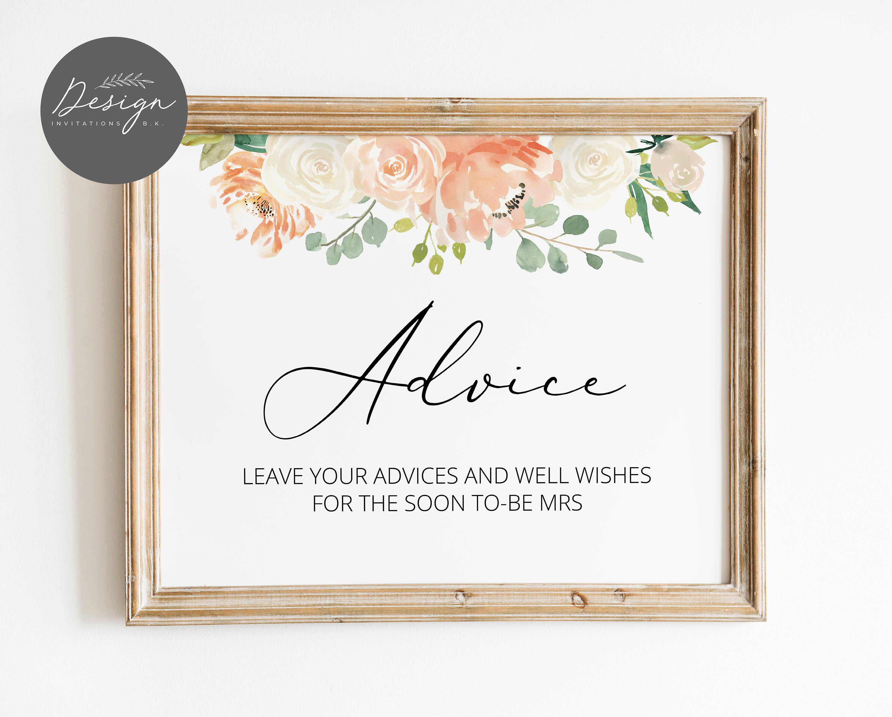 Advice Sign Printable Advice Cards Bridal Shower Wedding Advice Cards Instant Download Br13 Wedding Advice Cards Bridal Shower Signs Advice Cards