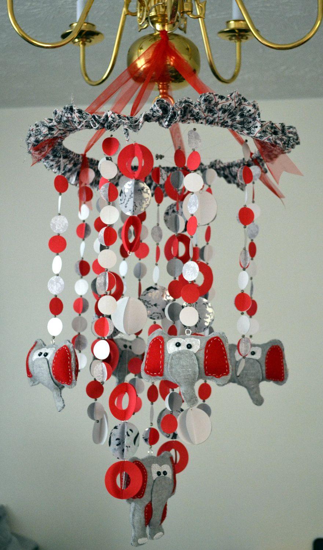Elephants Mobile Red White Gray Nursery Decor Baby Shower Gift