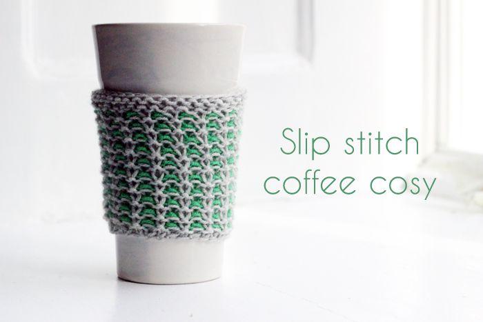 Slip Stitch Coffee Cozy. (free pattern)