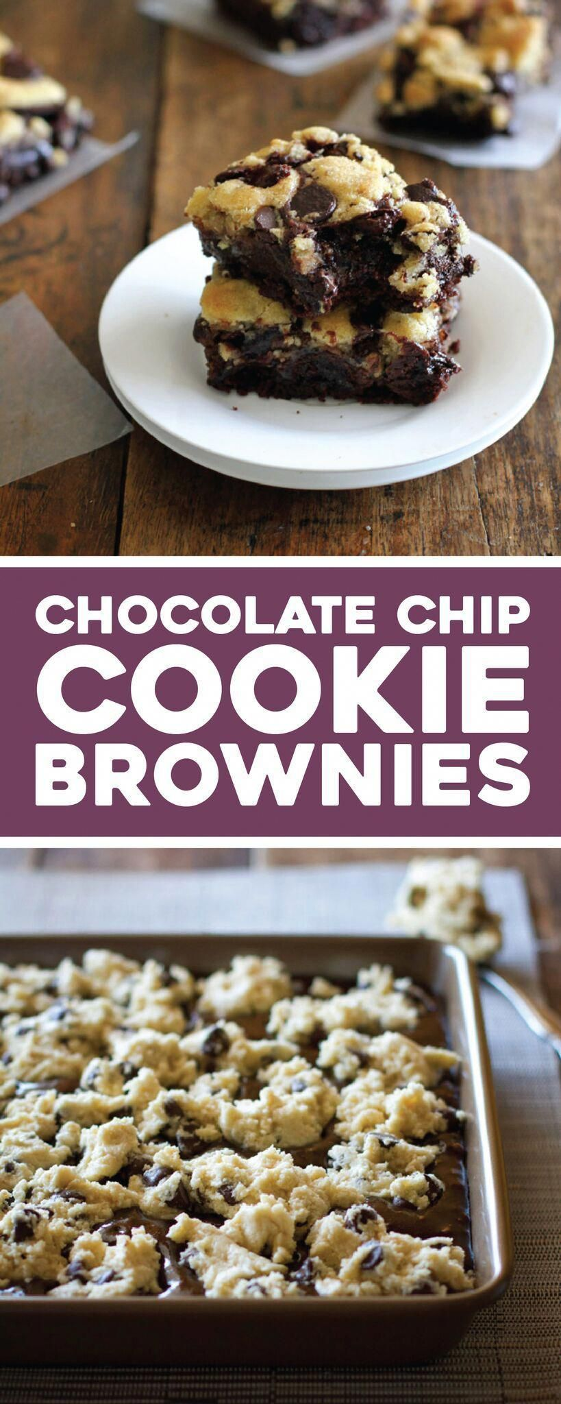 easy chocolate chip cookie brownies have my very favorite chocolate chip cookie dough baked into the top layer of decadent, fudgy brownies. |