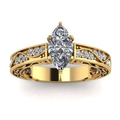 Marquise Cut Yellow Gold Pave Set Diamond Engagement Ring