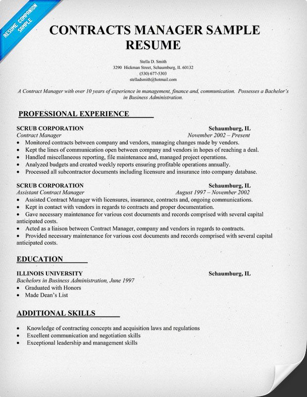 contracts manager resume sample law - Contract Administration Sample Resume