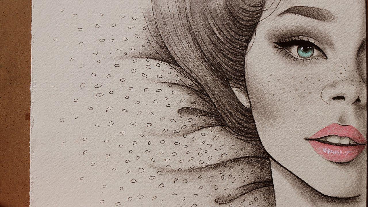 تعليم الرسم كيف ترسم نصف بورتريه لفتاه دمج اقلام الرصاص والخشب المائي تعلم الرسم رصاص بورتريه رسم Pencil Art Drawings Dark Wallpaper Iphone Art