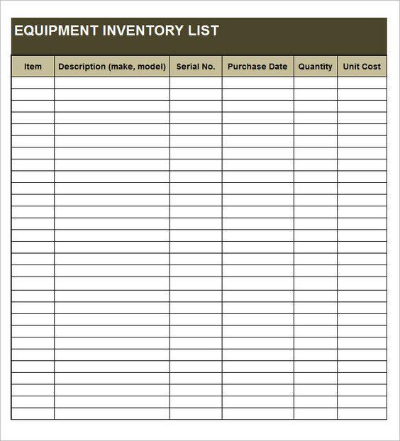 Equipment Inventory List Templates