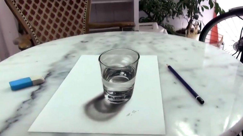 Este vaso de agua sorprender y confundir su mente  Arte