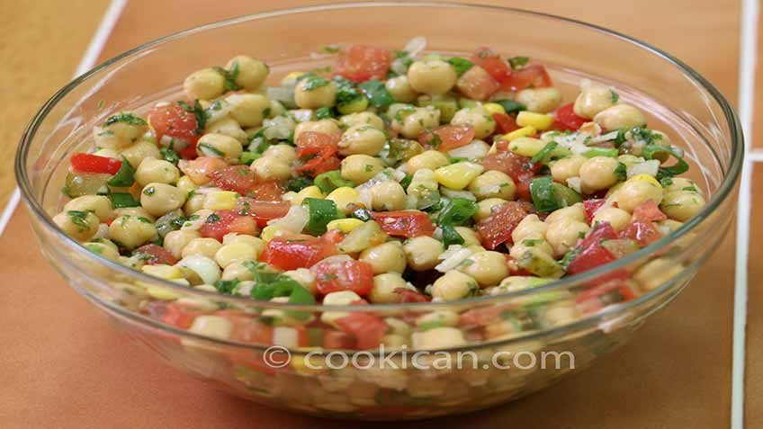 This Chick Pea Salad recipe is incredibly addictive. #Hummus #Salad #cookican