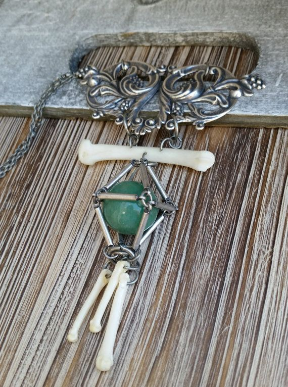 Bone Jewelry, Caged Aventurine Crystal Sphere,Coyote and Raccoon Bones, Antique Filigree,  Witchy, Bohemian, Crystal Healing
