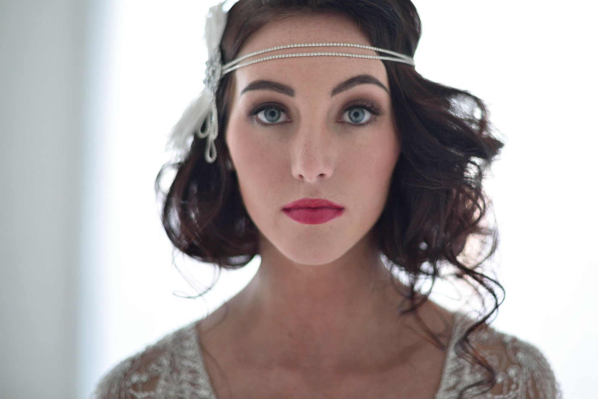 art nouveau flapper headband in silver- style #109 | bob hairstyle