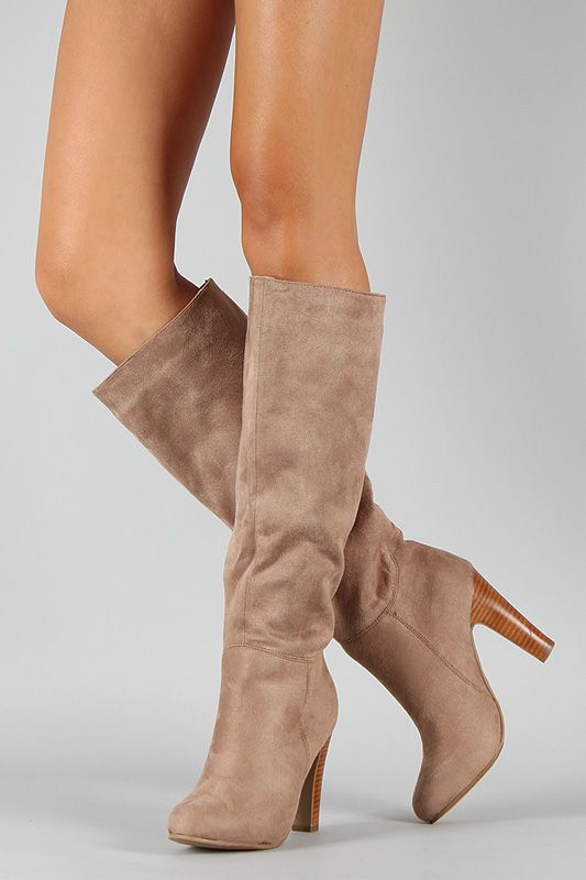 Fall Boots: Suede Knee High Boot. Round toe, low platform, and ...