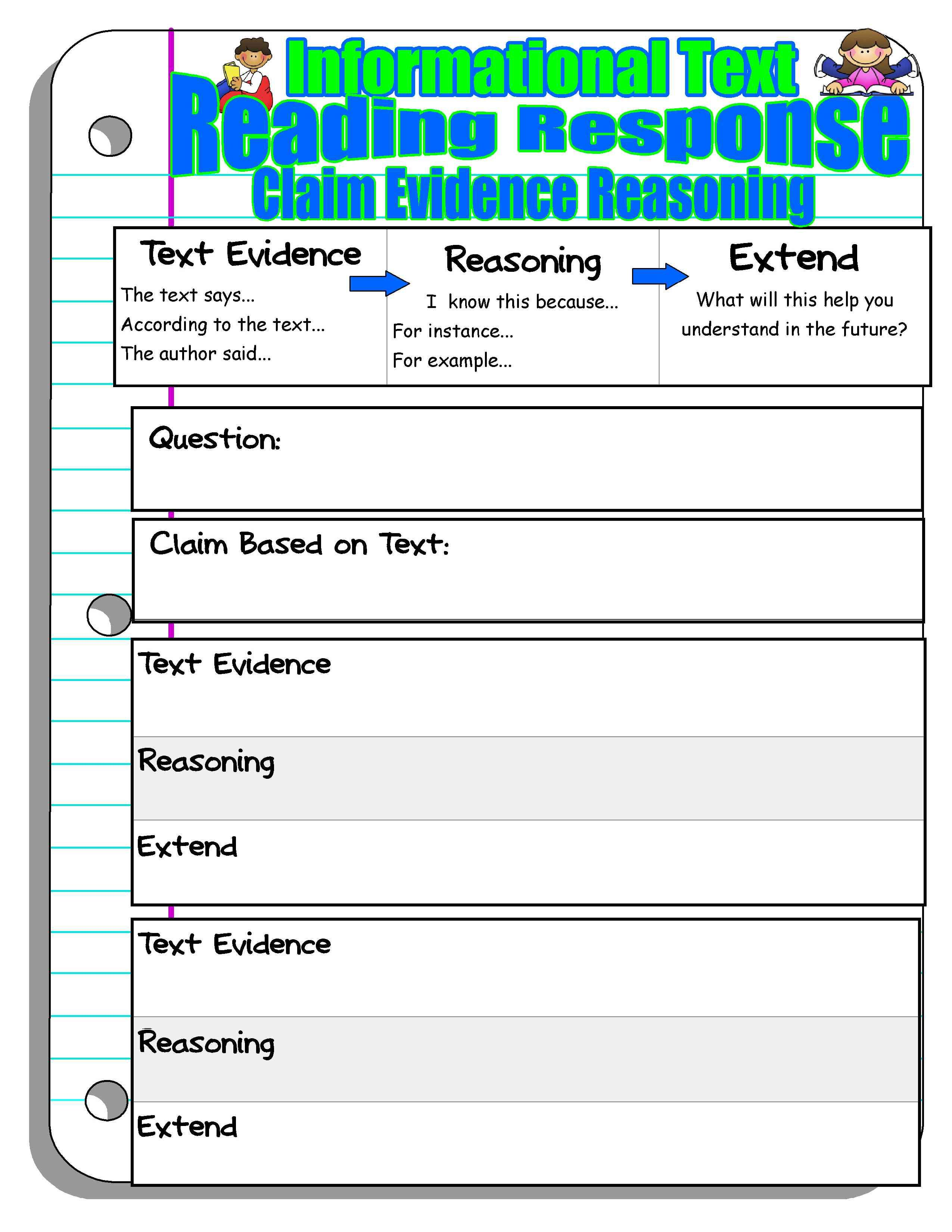 Claim Evidence Reasoning Reading Response Reading Response Claim Evidence Reasoning Teaching Writing