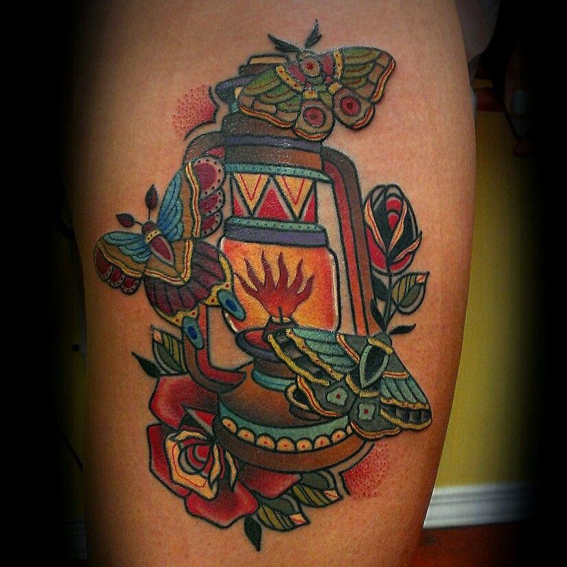 #lantern #moth #butterfly #rose #tattoo #traditionaltattoo ...