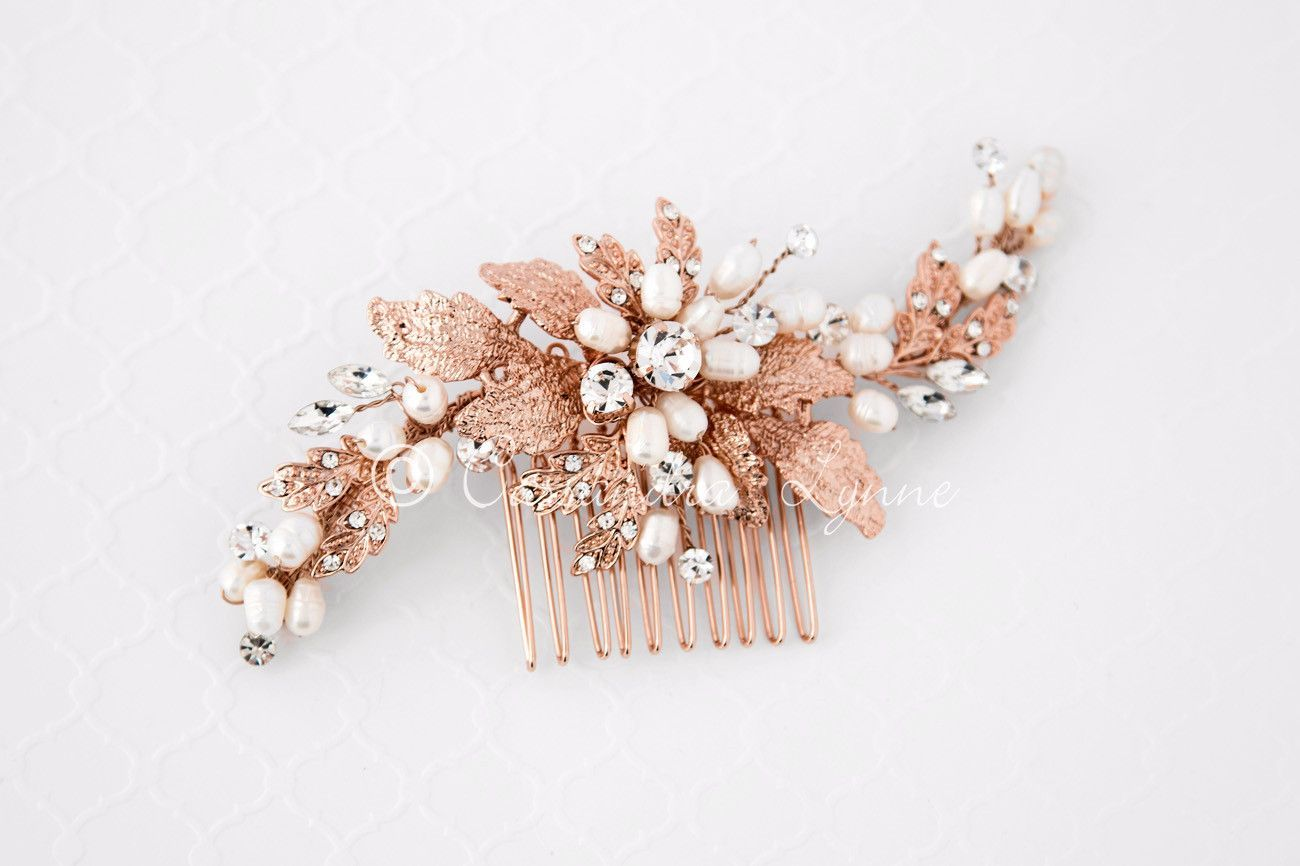 Rose gold bridal hair comb with ivory pearls from cassandra lynne