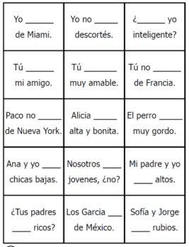 Spanish ser  estar game also armada battleship present tense verbs class rh pinterest