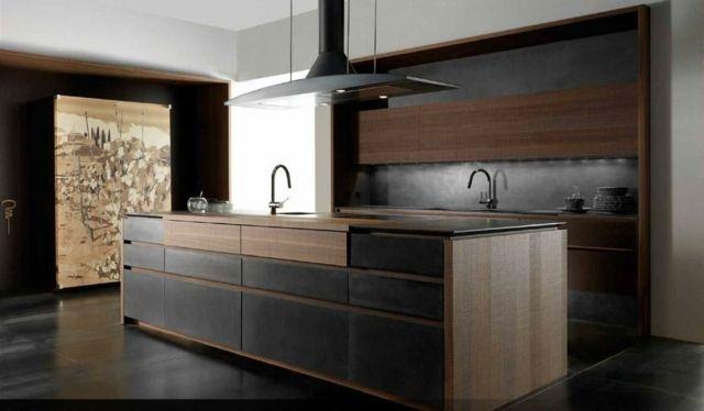 Massivholz Küchenfronten dunkle Farbe Braun Schwarz | Cuisine ... | {Einbauküchen schwarz 22}