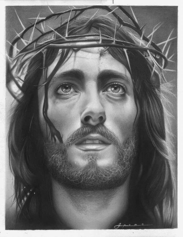 12 Drawings Of Jesus Face Jesus sketch, Christ tattoo