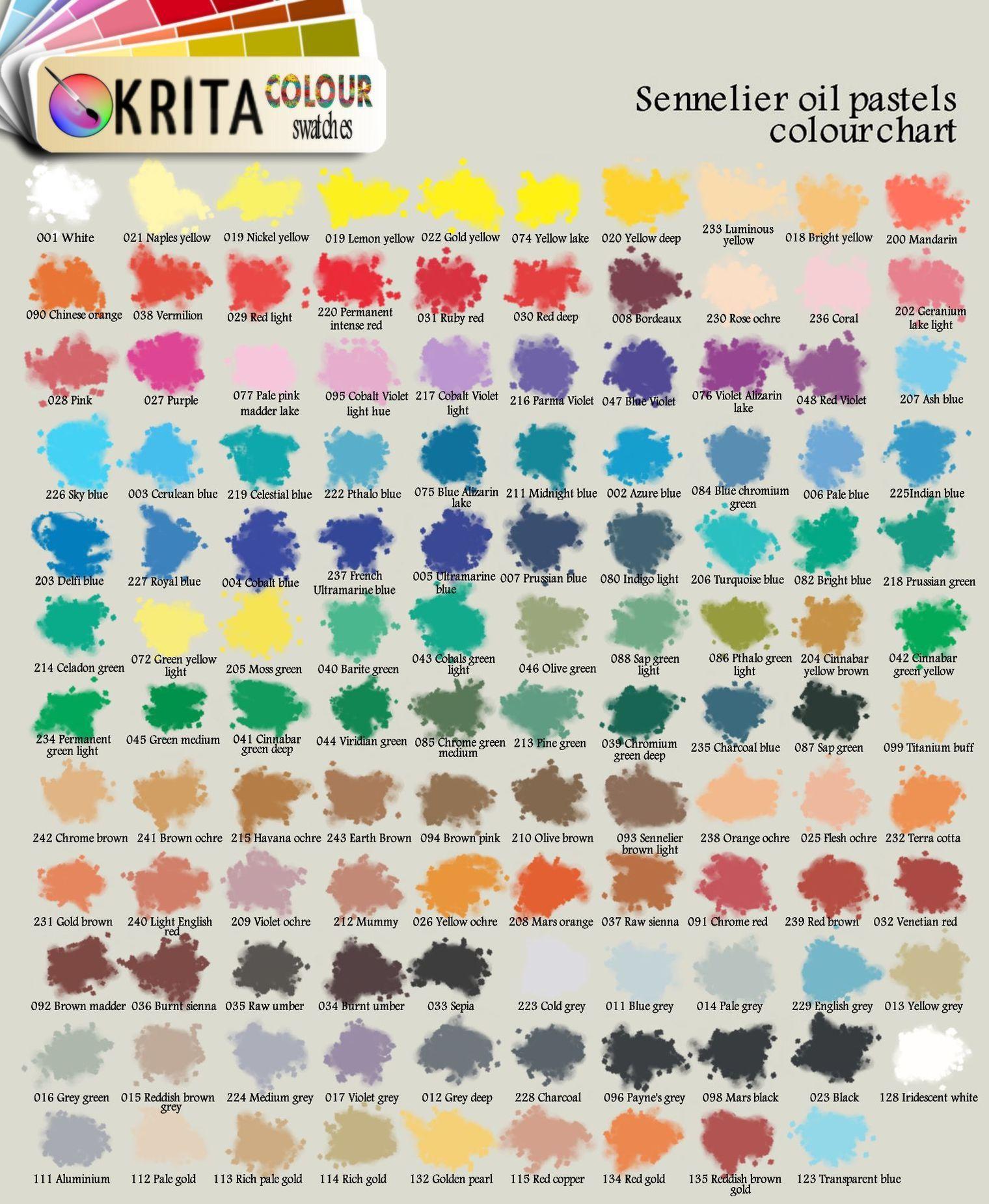Krita Oil Pastels Swatch By Relenette Deviantart Com On