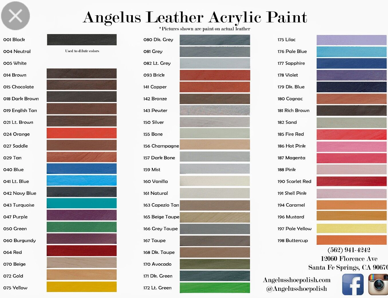 Angelus Leather Dyes Paint Color Chart Leather Paint Painting Leather