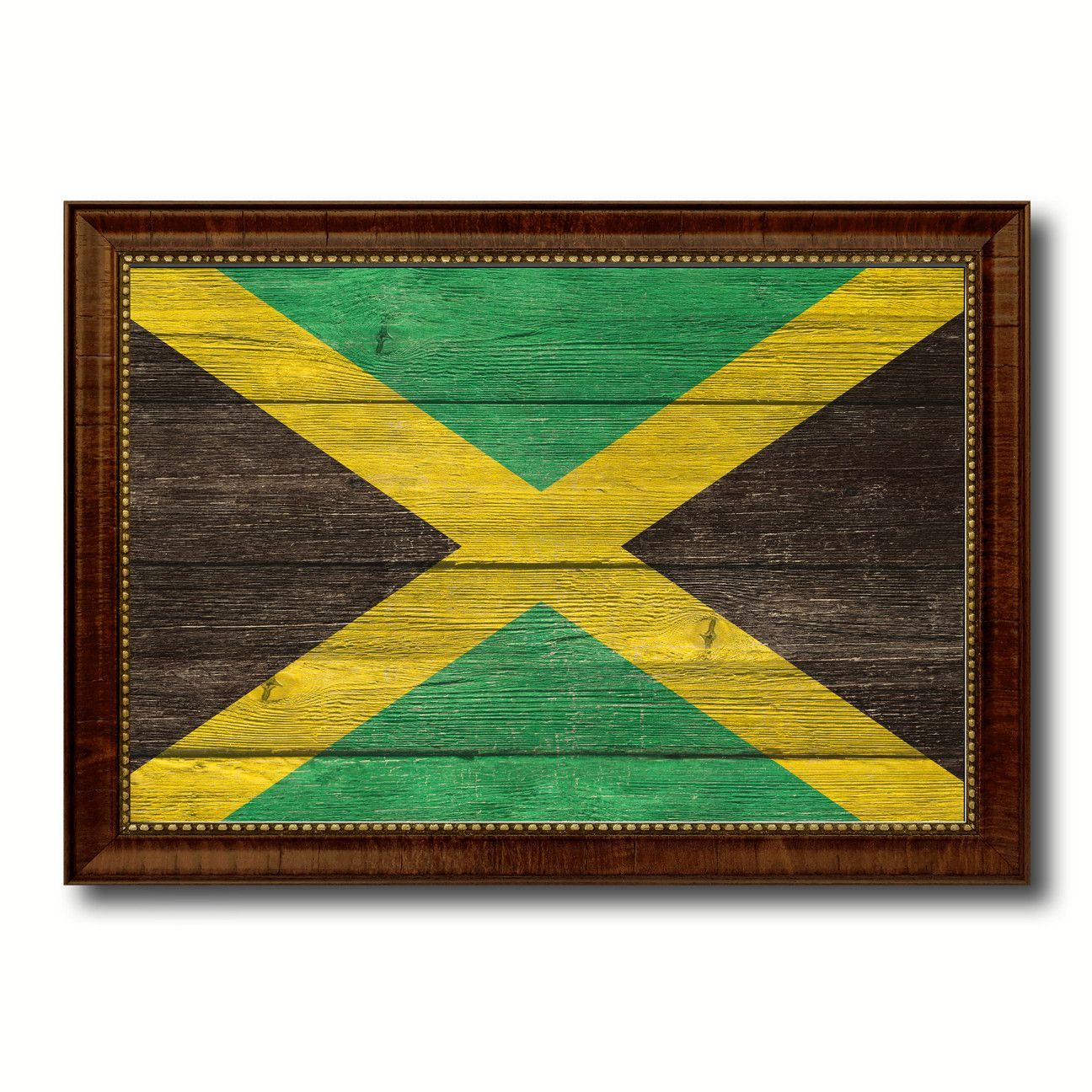 Jamaica Country Flag Texture Canvas Print with Brown Custom Picture ...