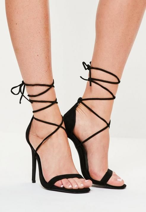bd52e3fde88 Missguided Lace Up Barely There Heeled Sandals Black | Shop the look ...