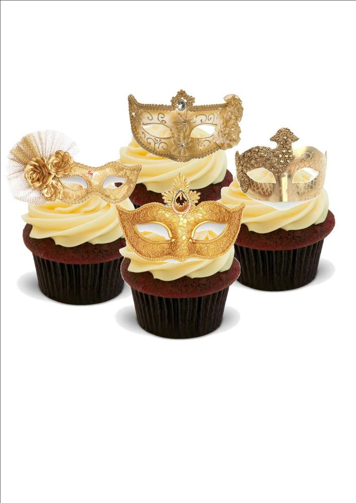 NOVELTY MASQUERADE BALL GOLD MASK MIX 12 STANDUP Edible Cake Toppers ...