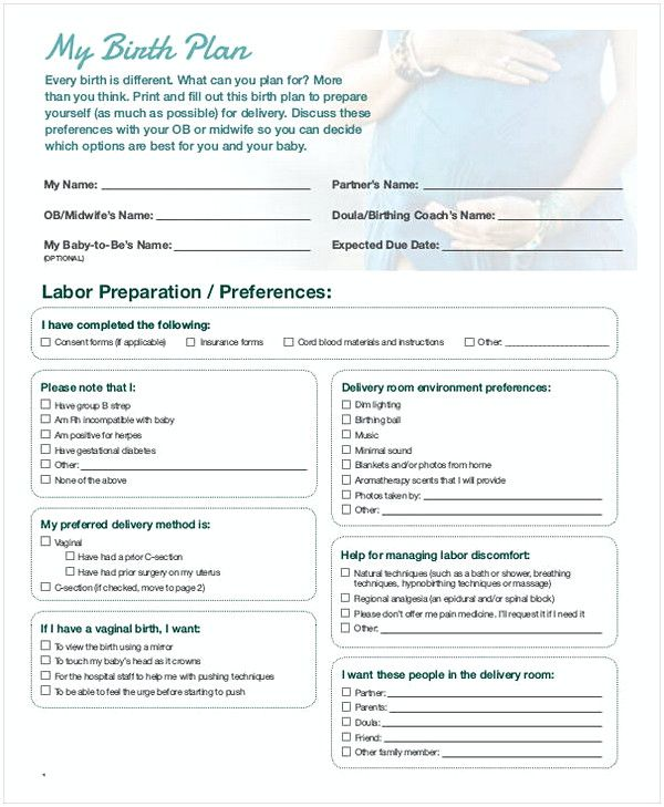 51 Free Download Birth Plan Templates For Your Labor Time Birth