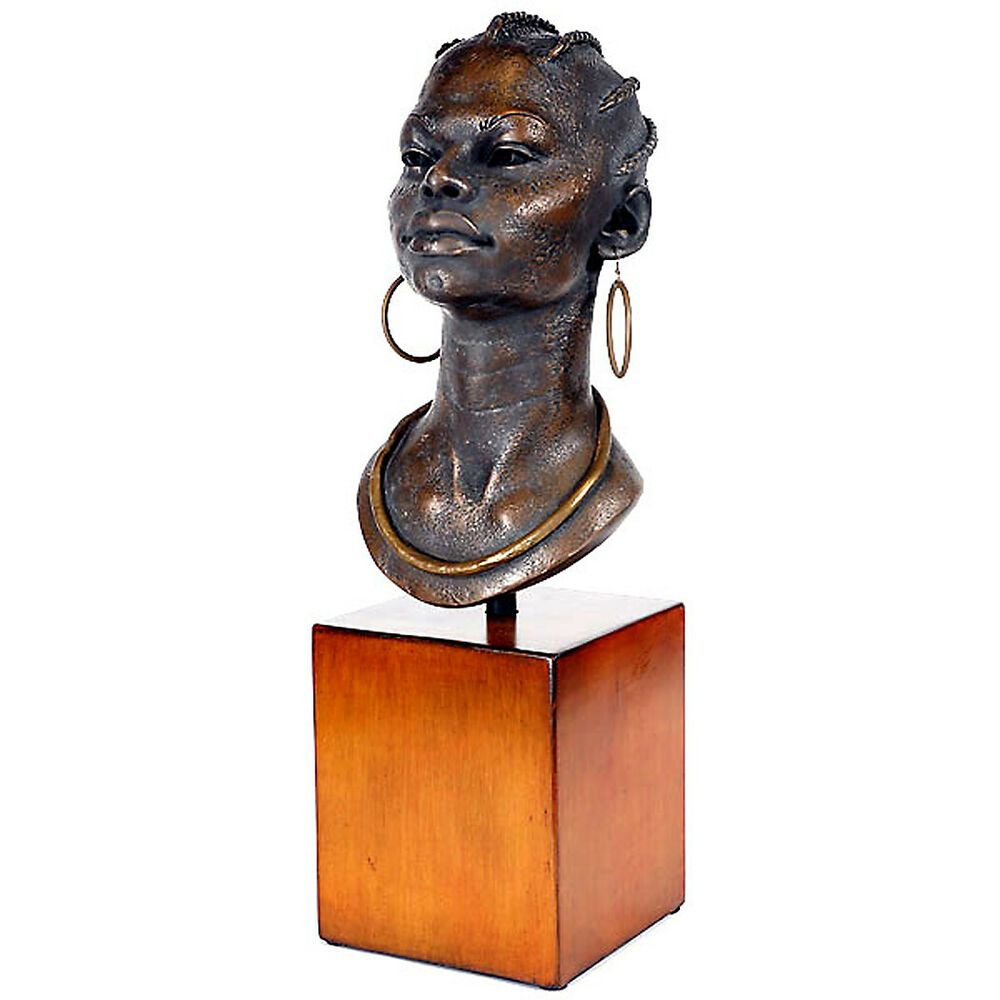 African Woman Bust On Stand Table Decor Collectible Art Statue 22 5 H Na African Sculptures African Art Paintings Bust Sculpture