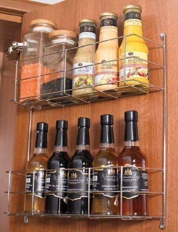 Wire Storage Basket Metal Racks Cupboard Door Mounted Bottles