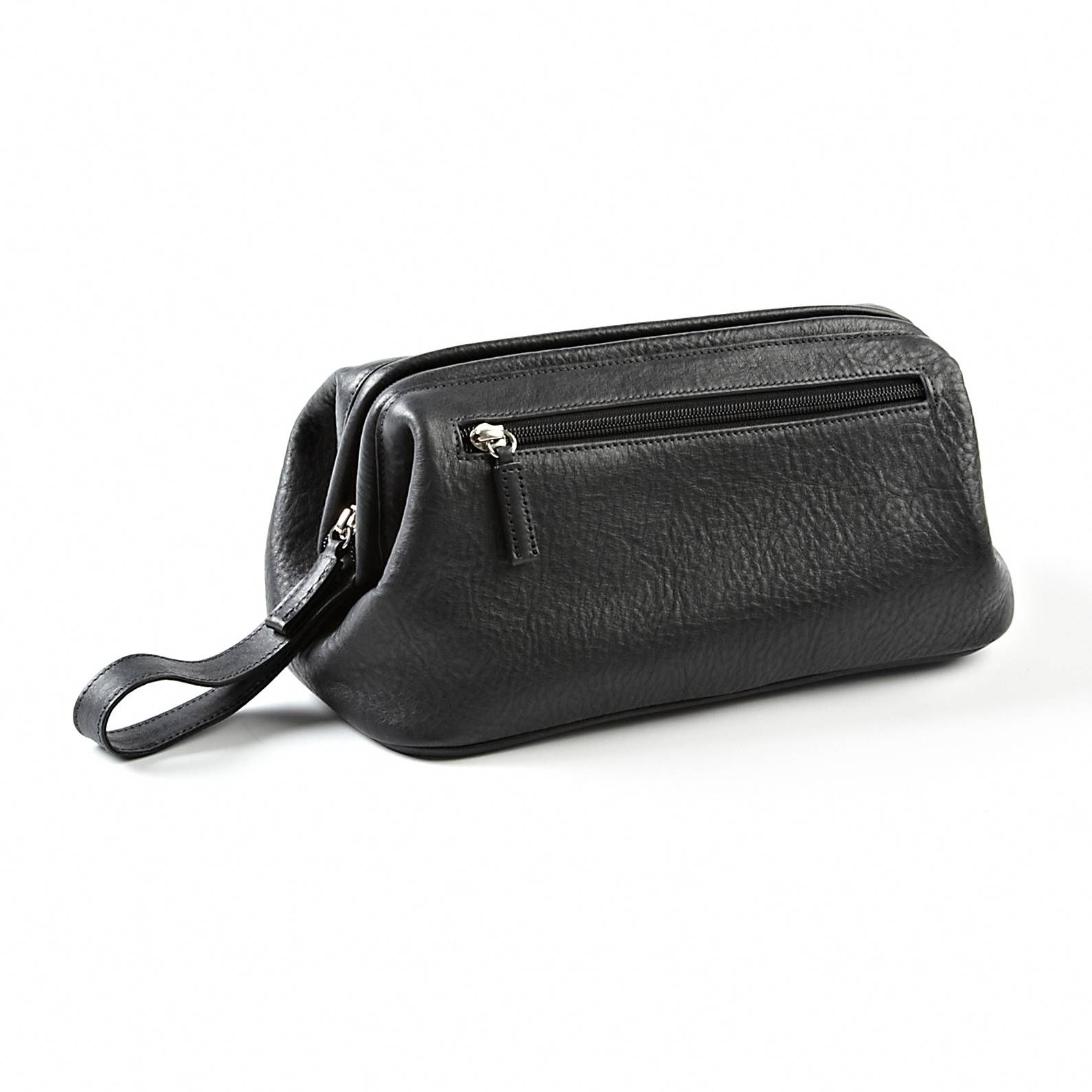 Rustic Black Leather Framed Toiletry Bag  e8f02a6b3917c