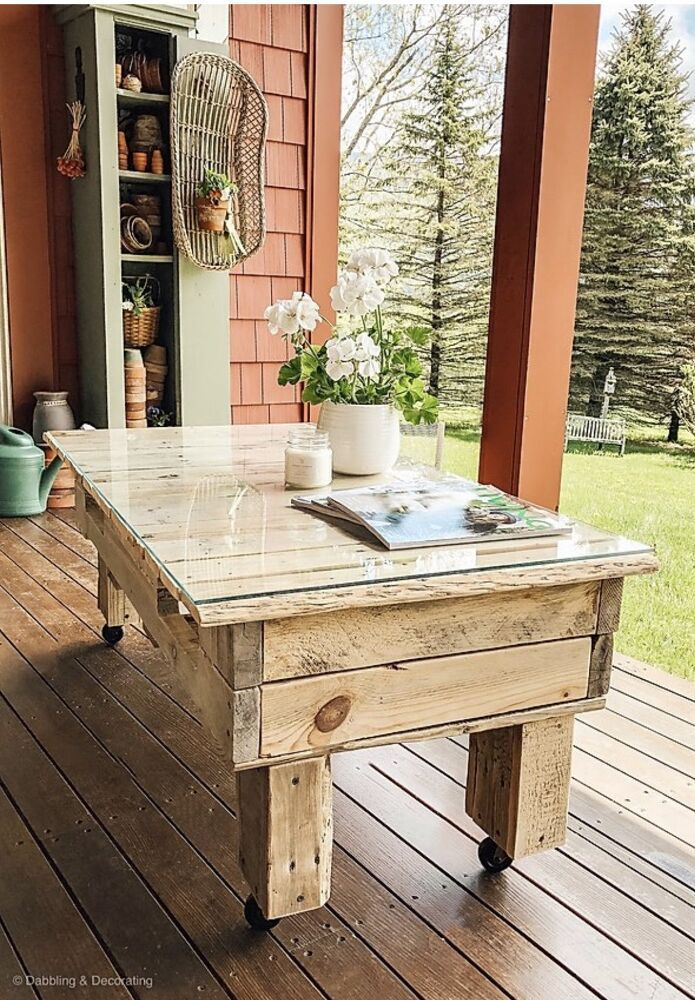 DIY Mobile Pallet Coffee Table in 2020 Pallet wood