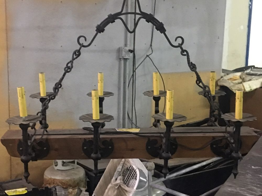 Antique French Wrought Iron and Oak Castle Chandelier/Hanging Lamp 8 Light  | eBay - Antique French Wrought Iron And Oak Castle Chandelier/Hanging Lamp