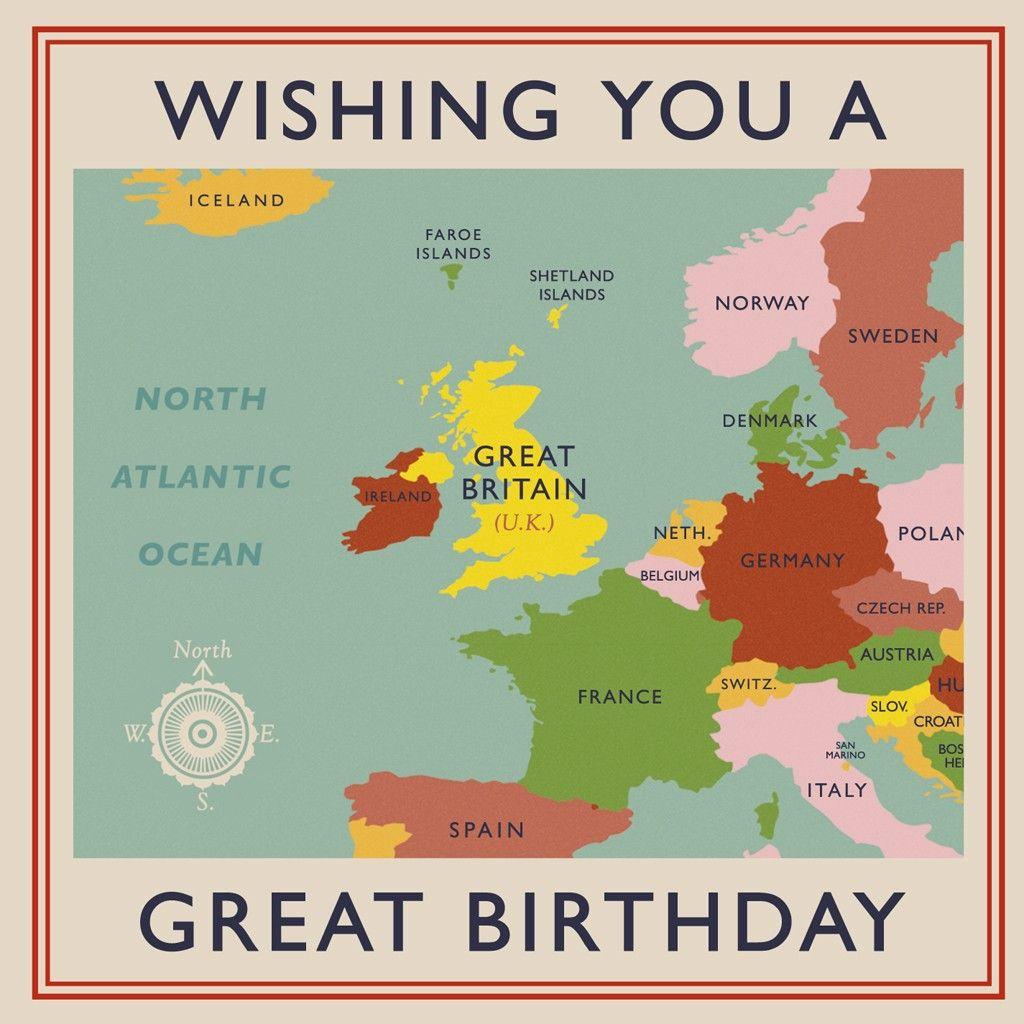 Vintage World Map Birthday Card Dotcomgiftshop We Are Children Holding Hands Around The World Birthday Cards Map Birthday
