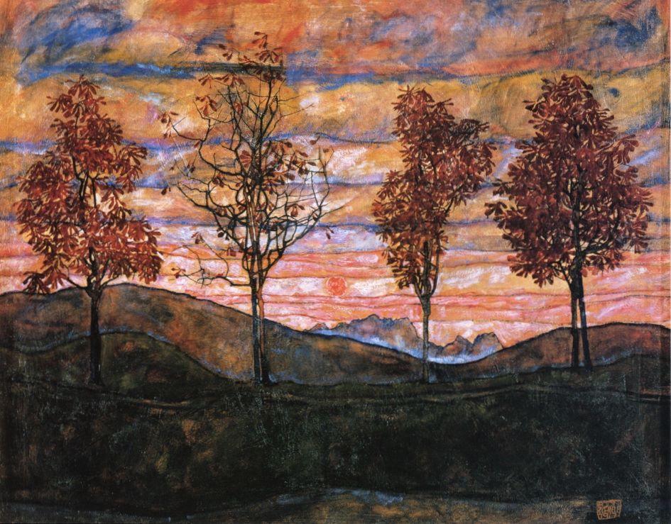 Egon Schiele (Austrian, Expressionism, 1890-1918): Four Trees, 1917. Oil on canvas, 110.5 x 141 cm.