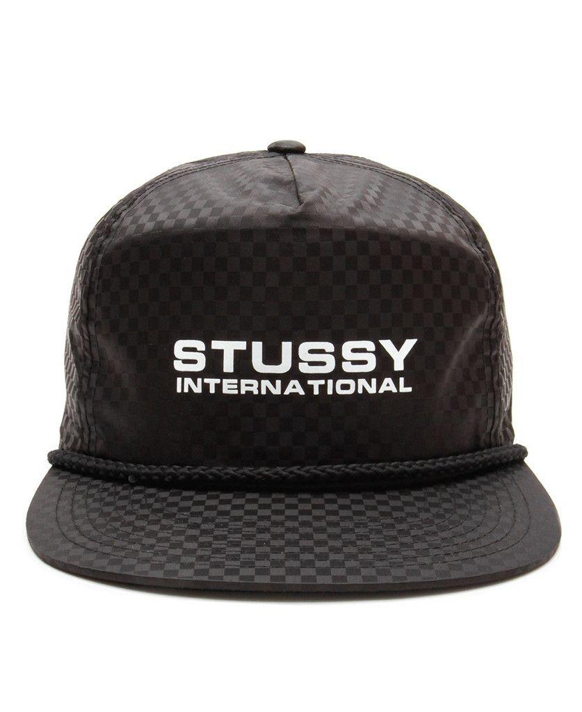 8d63fd9ce57 Stussy - Checkered Nylon Snapback Cap (Black)
