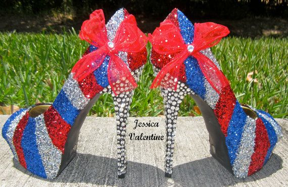 Fourth of July Glitter Heels... I want these. Really bad.  82ed0ebef