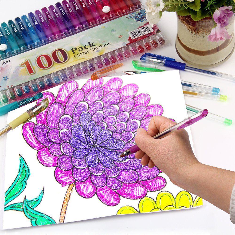 Gel Pens Glitter Set Coloring Pen Colors Drawing Adult Neon 30 Art Colored Adult