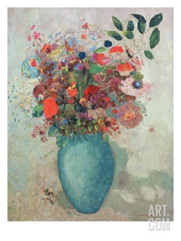 Flowers in a Turquoise Vase, C.1912 Giclee Print by Odilon Redon at Art.com