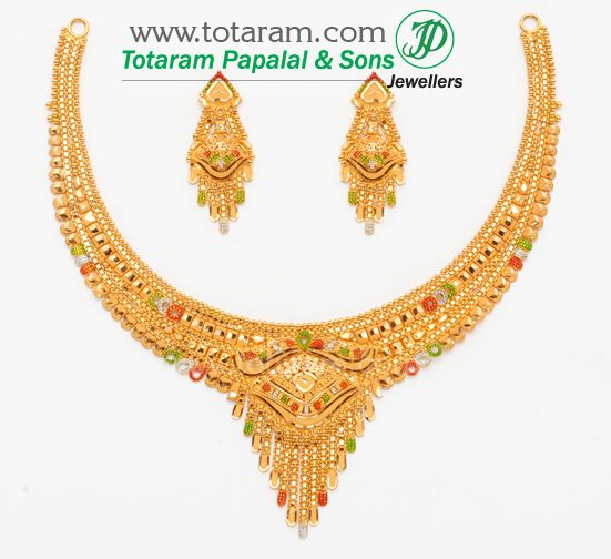 22K 22 Karat Gold Necklace Earring Sets Diamond Necklace Earring