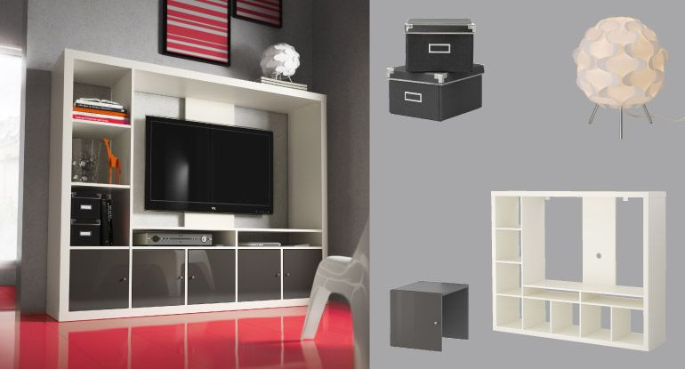expedit combinaison de rangement tv blanche avec blocs portes gris brillant meuble tv avec. Black Bedroom Furniture Sets. Home Design Ideas
