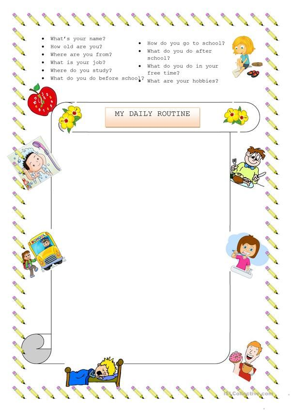 Writing about daily routines | ESL | Pinterest