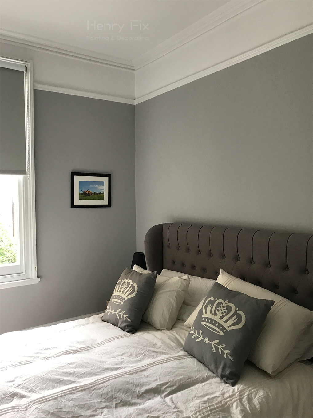 Dulux colour-matched to Wickes Nickel, Tikkurila Super White Cover