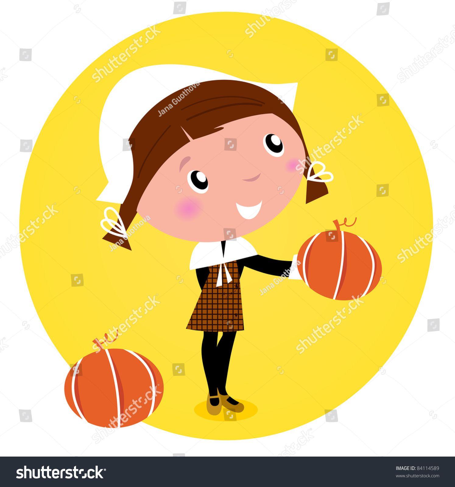 Thanksgiving Day Harvest Pilgrim Girl Pumpkin Stock Vector With Pilgrim Thanksgiving Day Stock Vector