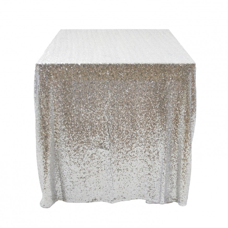 Sequin Rectangle Tablecloth 90 X 132 Silver 405007 Wholesale